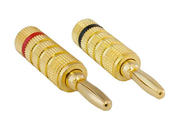 1 Pair of Speaker Banana Plugs, Closed Screw Type
