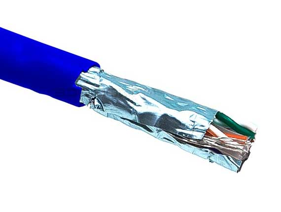 1000ft Cat5e 350 MHz Shielded Solid Bulk Cable Blue