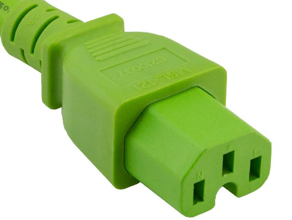 3ft 14 AWG 15A 250V Power Cord IEC320 C14 to IEC320 C15 Green