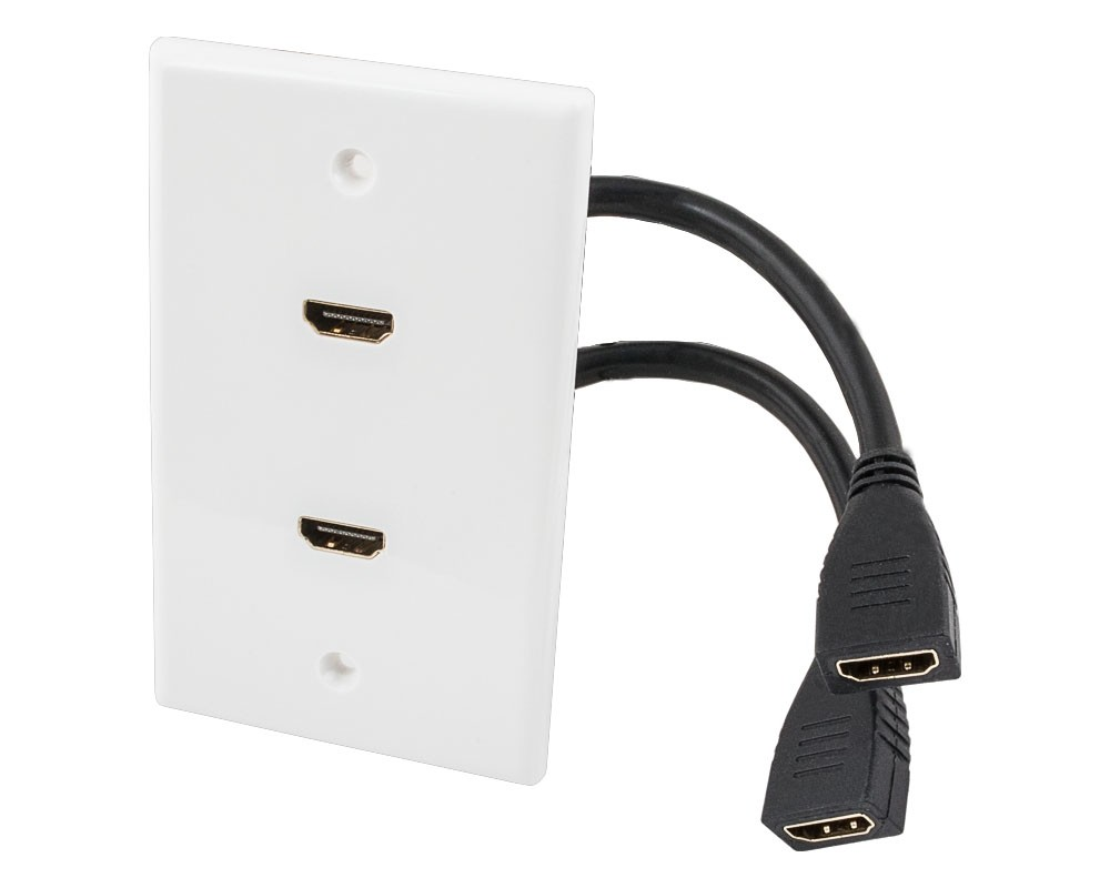 2-port HDMI Wall Plate with 8 inch Built-in HDMI Cable with Ethernet