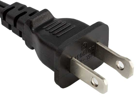 6ft 18 AWG 2-Slot Polarized Notebook Power Cord (IEC320 C7 to NEMA 1-15P)