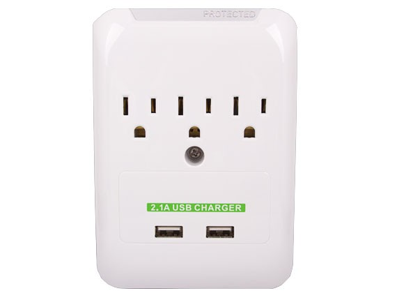 3 AC Outlet Slim Power Surge Protector Wall Tap with 2 USB Ports