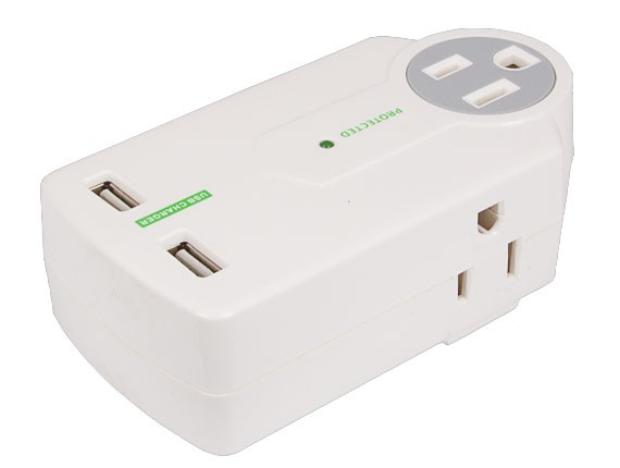 3 AC Outlet Surge Protector Wall Tap with 2 USB Ports