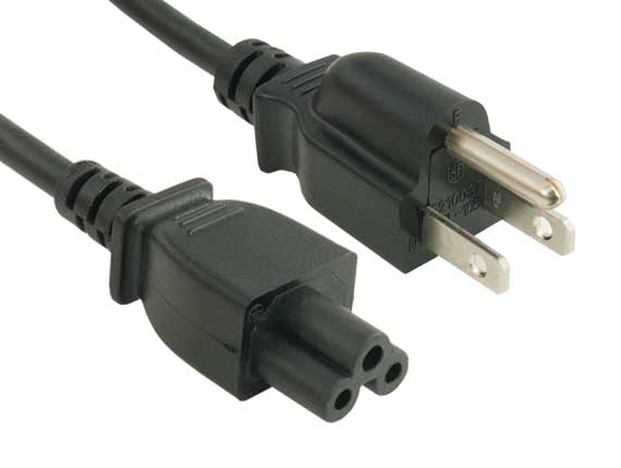 1ft 3-Prong Notebook AC Power Cord IEC320 C5 to NEMA 5-15P