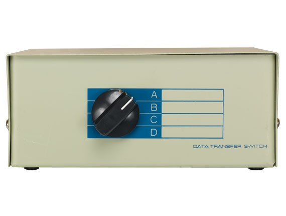 4-way DB9 Manual Data Switch Box, ABCD Male