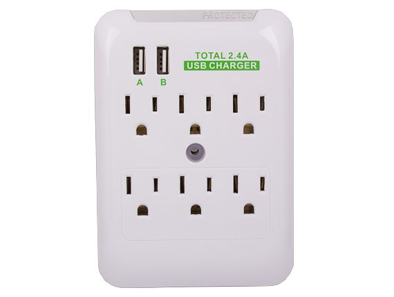 6 AC Outlet Slim Power Surge Protector Wall Tap with 2 USB Ports