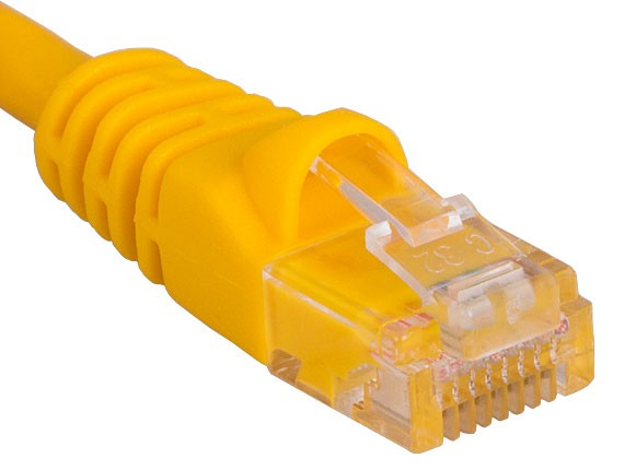 25ft Cat5e 350 MHz UTP Snagless Patch Cable, Yellow