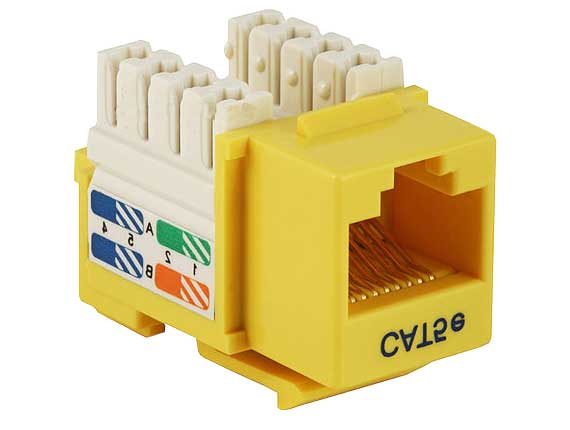 Cat5e RJ45 UTP 110 Type Punch Down Keystone Yellow