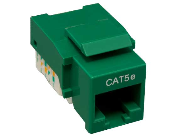 Cat5e RJ45 UTP Tool Less Keystone Jack Green Color