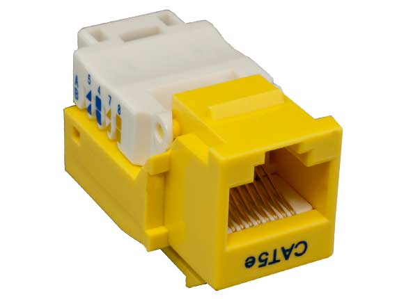 Cat5e RJ45 UTP Tool Less Keystone Jack Yellow Color