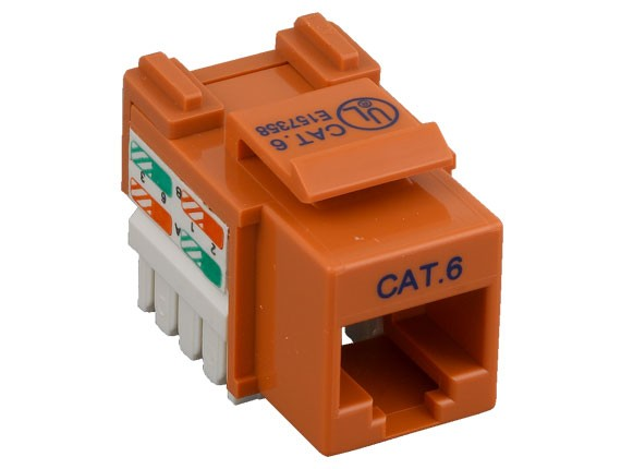 Cat6 RJ45 UTP 110 Type Punch Down Keystone Jack Orange Color