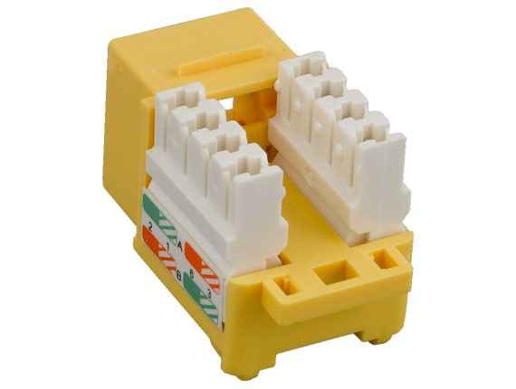 Cat6 RJ45 UTP 110 Type Punch Down Keystone Jack Yellow Color