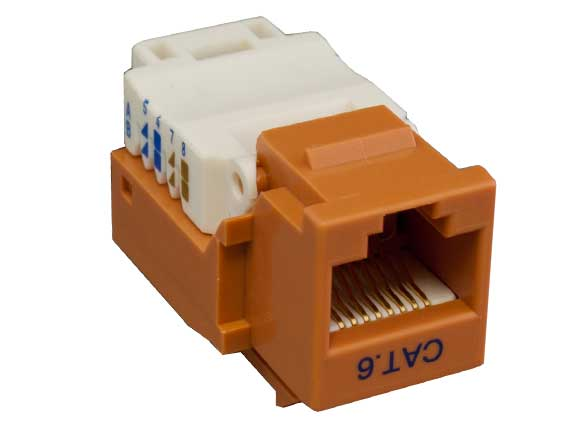 Cat6 RJ45 UTP Tool Less Keystone Jack Orange Color