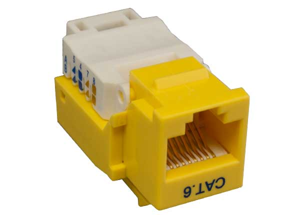 Cat6 RJ45 UTP Too Less Keystone Jack Yellow Color
