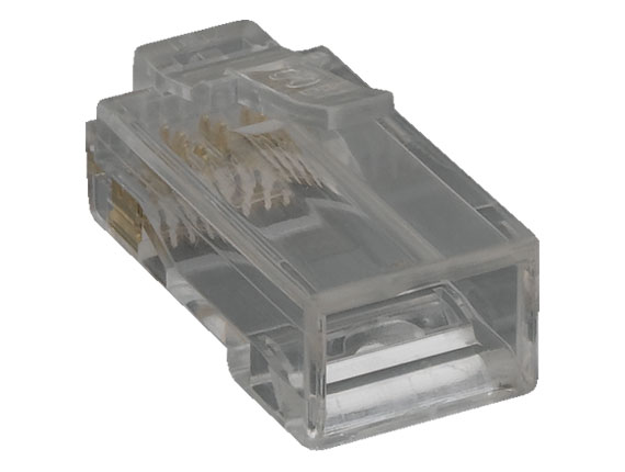 Cat6 Modular Plug for Round Solid Cable, w/Insert, 100pcs/Bag