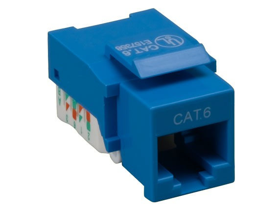 Cat6 RJ45 UTP Tool Less Keystone Jack Blue Color