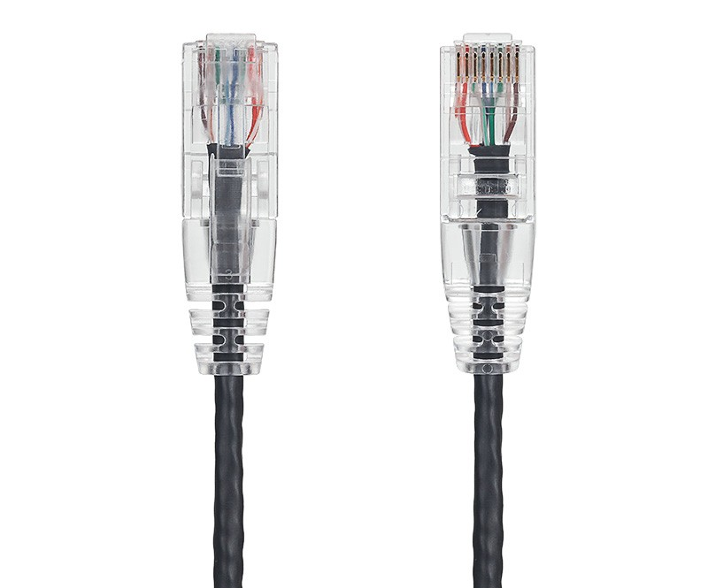 1ft Ultra Slim Cat6 28 AWG UTP Snagless Ethernet Network Patch Cable, Black