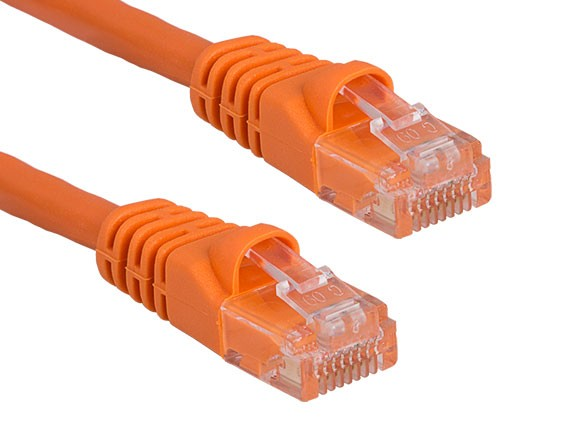 25ft Cat6 550 MHz UTP Snagless Crossover Ethernet Network Patch Cable, Orange