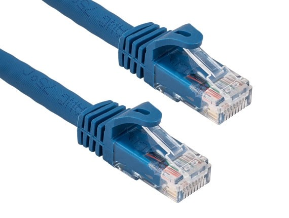 50ft Cat6a 600 MHz UTP Snagless Ethernet Network Patch Cable, Blue