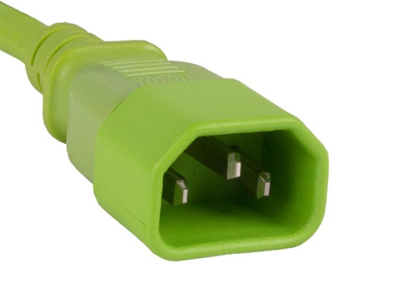 3ft Computer Power Extension Cord IEC320 C13 to IEC320 C14 Green