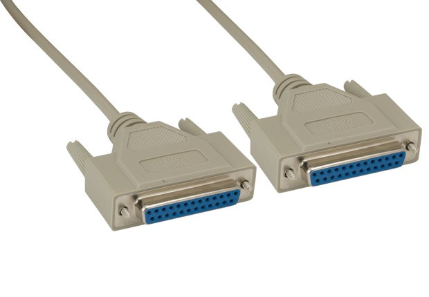 DB25 F/F Null Modem Cable