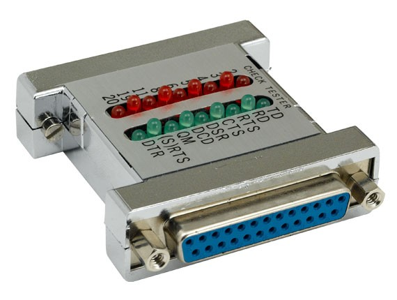 DB25 Male to Female Serial Check Tester with Green and Red LED