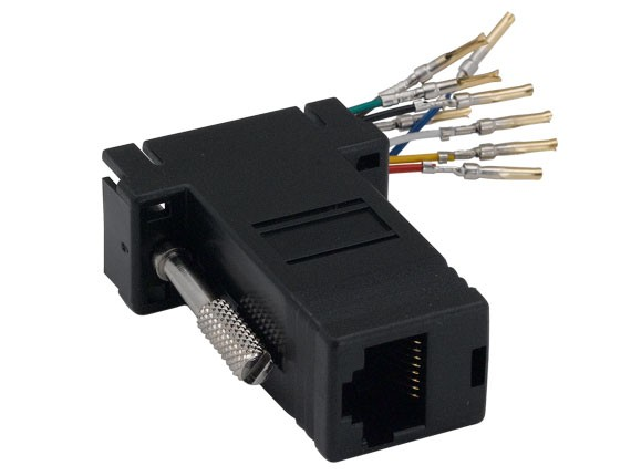 DB9 Female to RJ-45 Modular Adapter Black Color