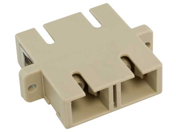 Multimode SC/SC Duplex Fiber Optic Adapter, Plastic Body
