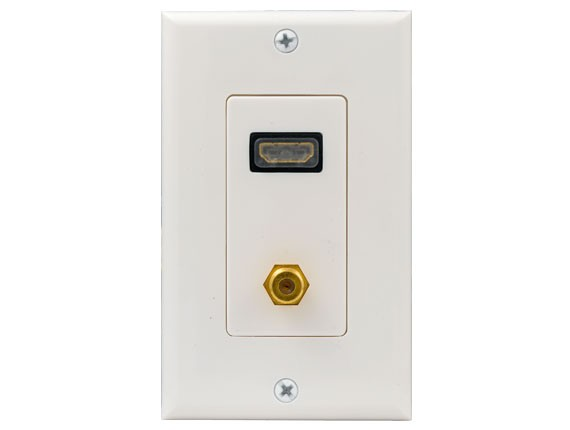 HDMI + Coax F-Connector Combo Wall Plate