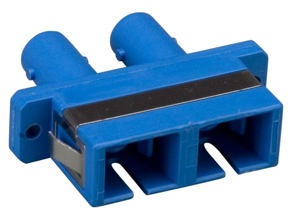 Multimode ST/SC Duplex Fiber Optic Adapter, Plastic Body
