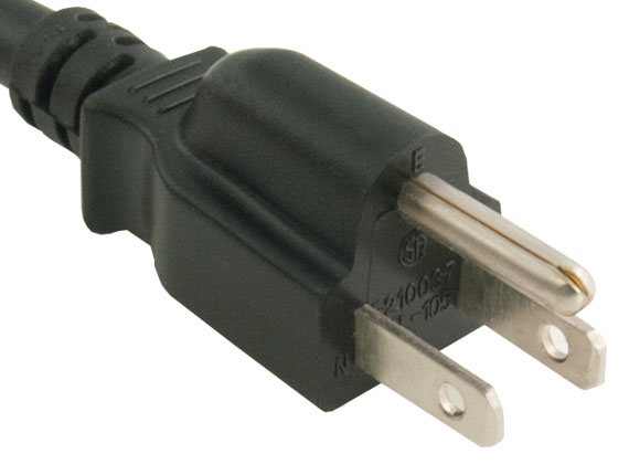 3ft 14 AWG 15A 125V Power Cord (NEMA 5-15P to IEC320 C19)