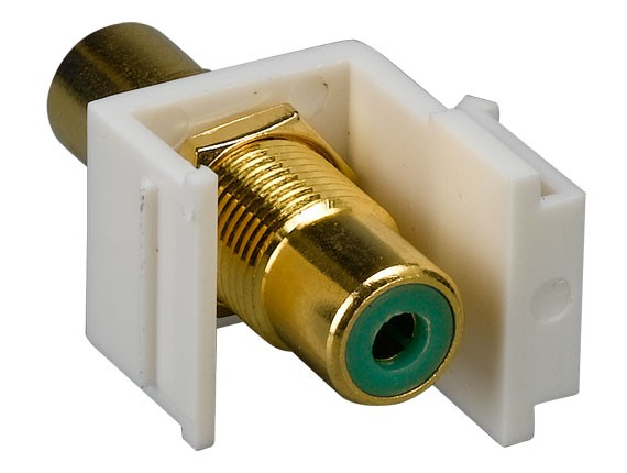 RCA F/F Keystone Insert Gold Plated Connector with Green Center