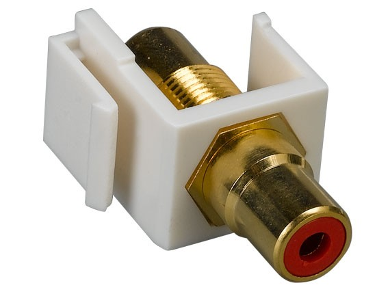 RCA F/F Keystone Insert Gold Plated Connector with Red Center