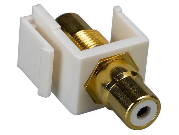 RCA F/F Keystone Insert Gold Plated Connector with White Center
