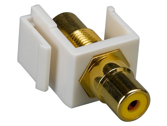 RCA F/F Keystone Insert Gold Plated Connector with Yellow Center