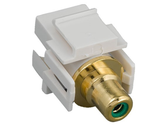RCA F/F Recessed Keystone Insert Gold Plated Connector with Green Center