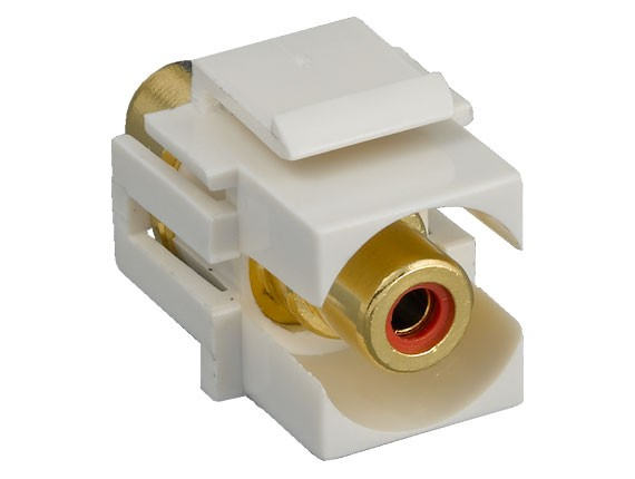 RCA F/F Recessed Keystone Insert Gold Plated Connector with Red Center