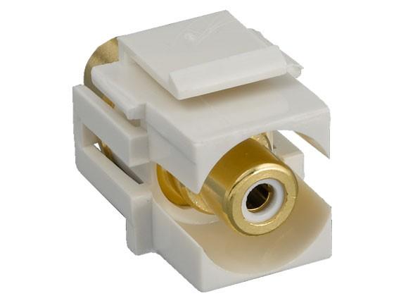 RCA F/F Recessed Keystone Insert Gold Plated Connector with White Center