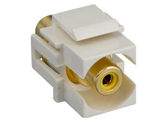 RCA F/F Recessed Keystone Insert Gold Plated Connector with Yellow Center
