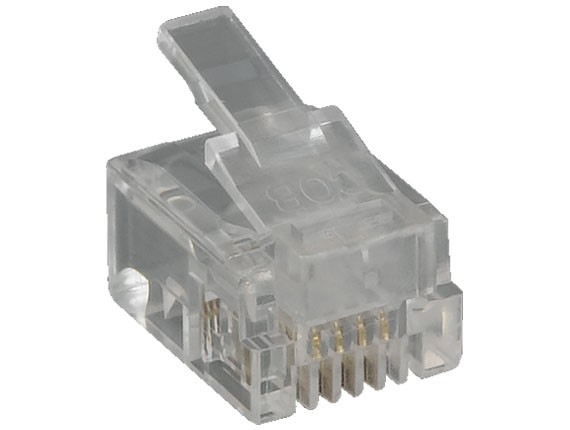RJ11 6P4C Modular Plug for Round Solid Cable, 50pcs/Bag