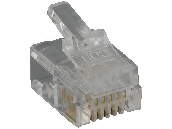 RJ12 6P6C Modular Plug for Round Stranded Cable, 50pcs/Bag