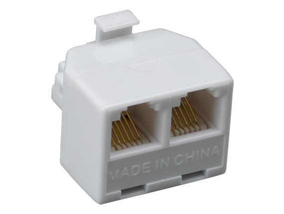 RJ12 One Male to Two Female Modular T-Adapter