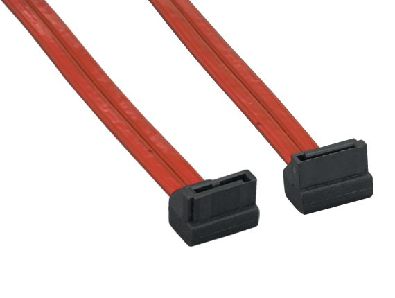 1m 7-pin 90-Degree Serial ATA Device Cable Translucent Red