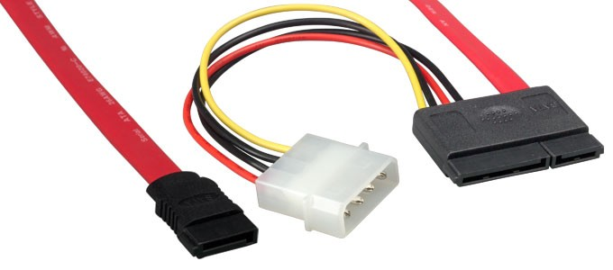 18in Serial ATA Data Cable & Power Adapter, SATA 7-pin + 15-pin to SATA 7-pin + 4-pin Molex