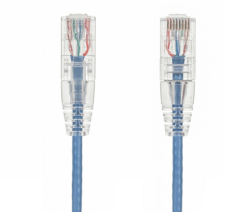 1ft Slim Cat6 28 AWG UTP Snagless Ethernet Network Patch Cable, Blue