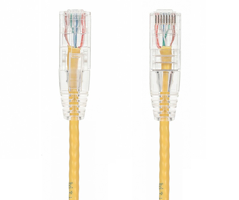 25ft Slim Cat6 28 AWG UTP Snagless Ethernet Network Patch Cable, Yellow
