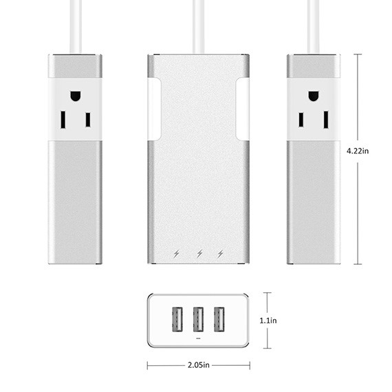 3 Ports USB Charger with 2 AC Outlets Aluminum Power Strip, Travel Charger Station, Silver