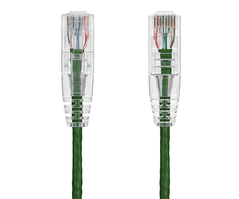 25ft Ultra Slim Cat6 28 AWG UTP Snagless Ethernet Network Patch Cable, Green