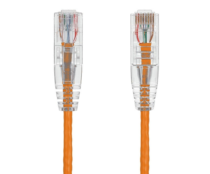 5ft Ultra Slim Cat6 28 AWG UTP Snagless Ethernet Network Patch Cable, Orange