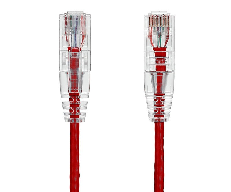 20ft Ultra Slim Cat6 28 AWG UTP Snagless Ethernet Network Patch Cable, Red